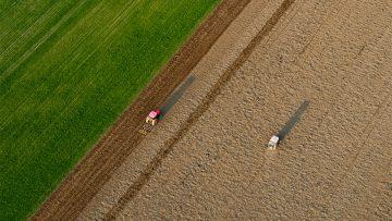 Traktory w polku – sianie i bronowanie