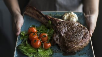 Close up of a lamb chop food photography recipe idea