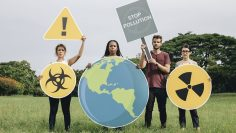 Diverse people with protesting against pollution