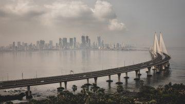 High angle shot of Bandra Worli sealink in Mumbai enveloped with fog