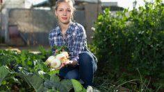 Smiling young girl  gardener picking green onion  in garden