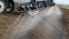Profesiional,Farming,Boom,Sprayer,Is,Applicating,Total,Herbicide,Before,Seeding